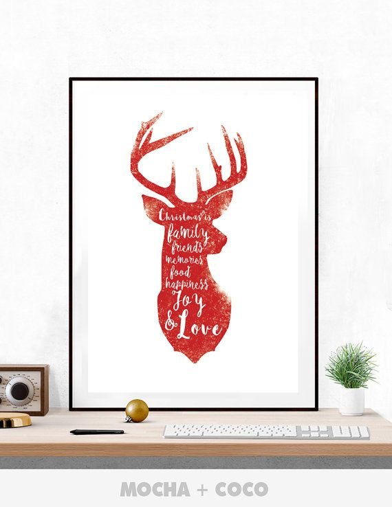 Santa Rudolf Deer Quote Poster, New Year Eve Wall Art, Christmas Wall Decor, Kids Room, Printable Mocha + Coco, INSTANT FILE DOWNLOAD
