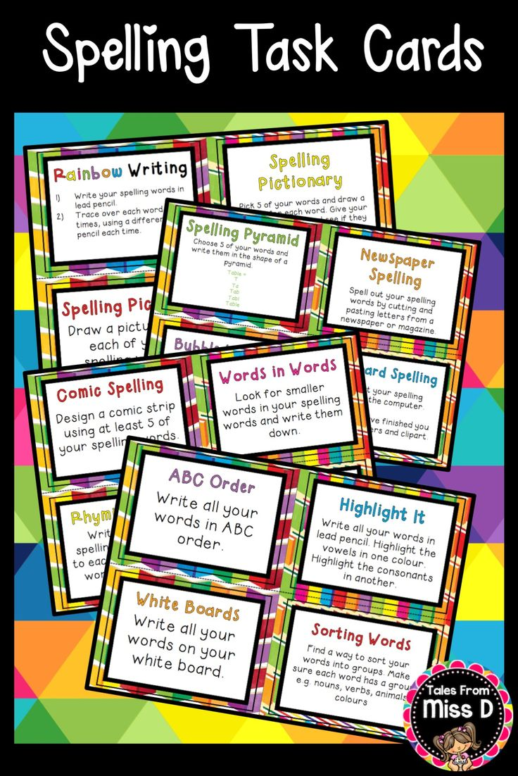 A set of 22 Spelling Activity Task Cards. Activities included: * Rainbow Writing * Spelling Pictures * Spelling Pictionary * Spelling Sentences * Pyramid Spelling * Bubble Writing * Newspaper Spelling * Keyboard Spelling * Comic Spelling * Rhyming Words * Words in Words * Spelling Stories * ABC Order * White boards * Highlight It * Sorting Words * Backwards Words * Test Your Friend * Magnetic Words * Write a Letter * Word Hunt * Spelling Bingo © Tales From Miss D