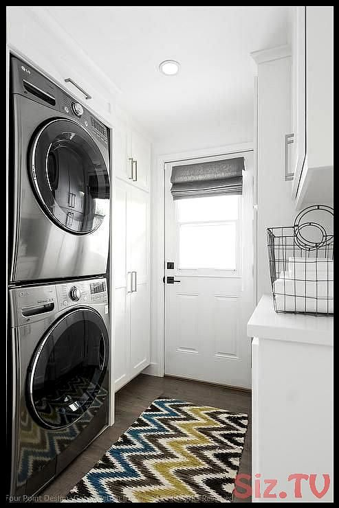 Small White Laundry Room Features Floor, White Wall Cabinets For Laundry Room