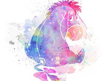 Disney Winnie the Pooh Eeyore Eeyore Watercolor Print-Wall Decor-Home Decor-Watercolor Digital Art-Wall Art-Wall Poster Poster