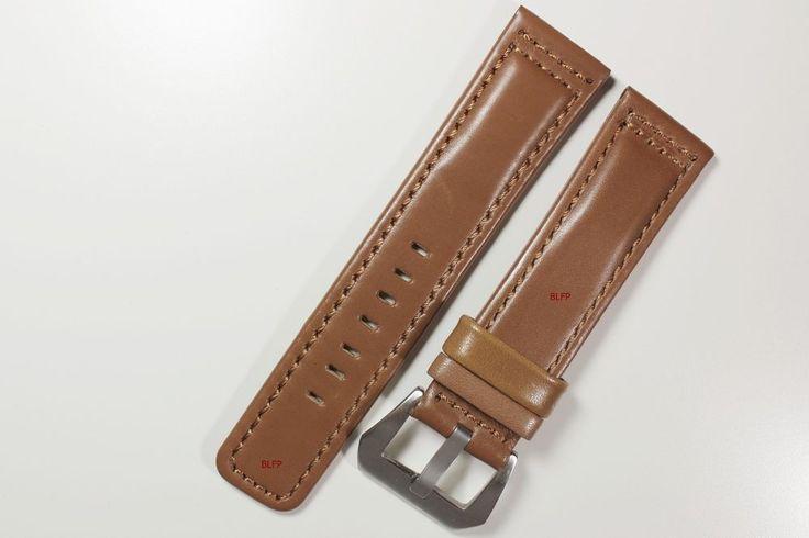 Glatt Leder Uhrenarmband Silky Uhr Armband Wrist Watch Leather Camel braun 24 mm