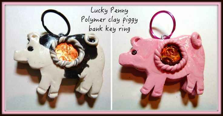 Make it easy crafts: Lucky penny polymer clay piggy bank key chain tutorial