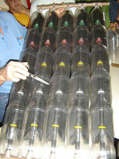Plastic bottles solar heat