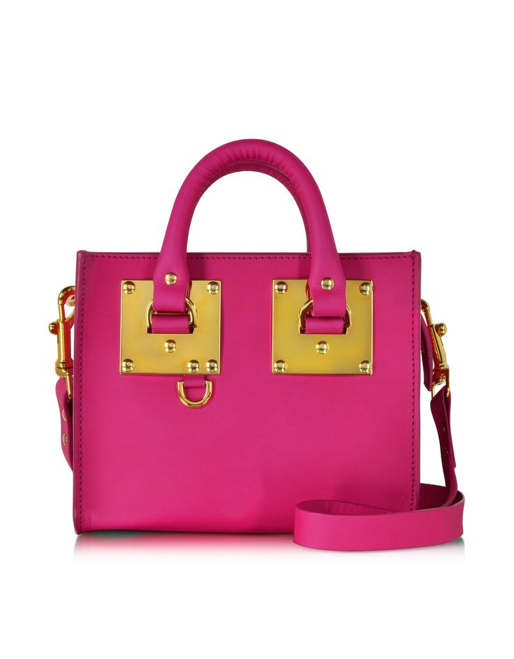 Sophie Hulme Fuchsia Mini Leather Box Tote Bag at FORZIERI