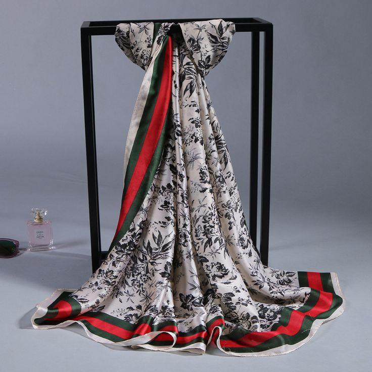 fashion foulard vrouwen sjaals rood twill zijde satijn sjaal print patroon 90*180 cm vierkante hoofd sjaals