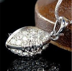 Hot sale Fashion costume jewelry 2012 sparkling Clear crystal rhinestone 3D American football charms pendant necklace TN2032205
