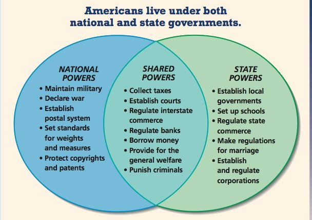 Great Visual to prompt some discussion on how the states and federal govt share and divide powers.