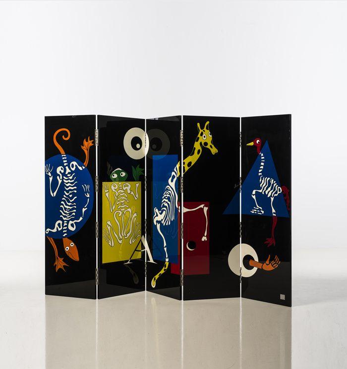 Paravent Visite Médicale au zoo en bois laqué et métal, Vincent Darré, édition limitée à 6 exemplaires, 2012