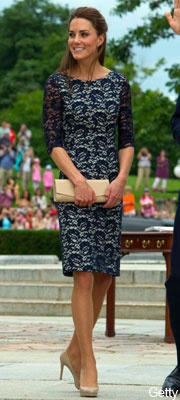 Oh Kate, you always get it right!    Navy lace Cecile shift scoop-back dress by Erdem Moralioglu
