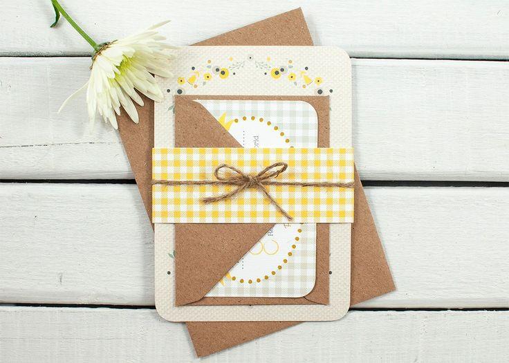 Floral Gingham Wedding Invitation Bundle - norma&dorothy
