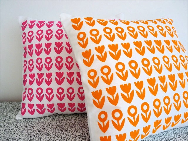 Scandinavian style screen printed Scandinavian Tulip Flower Cushion cover pillow by Jane ...