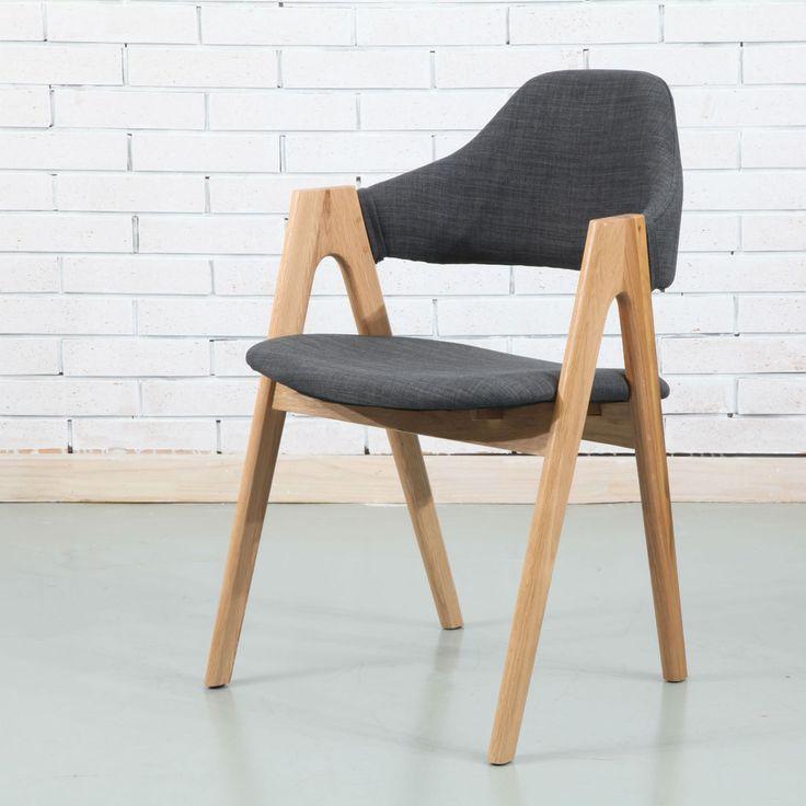 Nestor Solid Oak Dining Chair - Dark Grey Fabric - ICON BY DESIGN