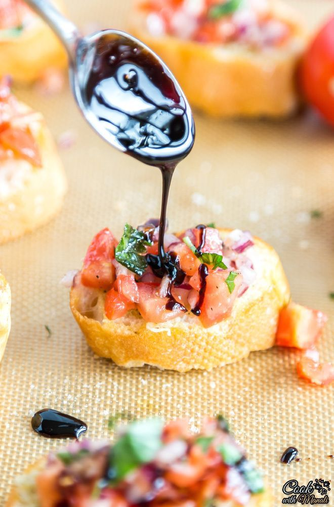 Onion Tomato Bruschetta with Balsamic Glaze - Cook With Manali