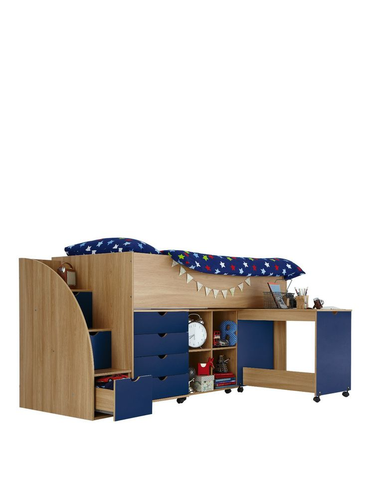 Best Kidspace Milo Mid Sleeper Kids Bed Frame With Storage 640 x 480