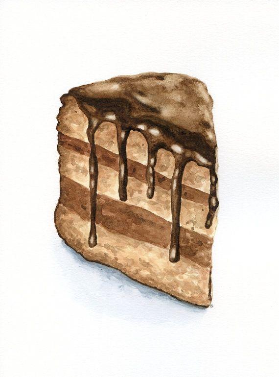 Slice Of Chocolate Cake Original Painting Desset