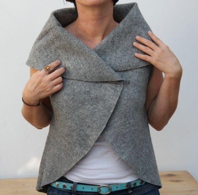 Per una moda fai da te, un gilet di lana cotta magicamente realizzato con un grande cerchio di tessuto. Niente cuciture, ma solo qualche taglio!
