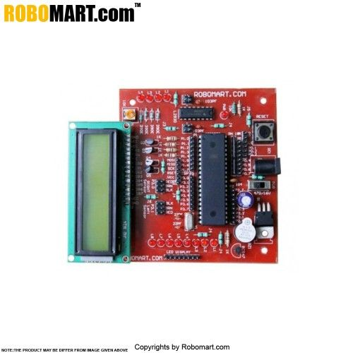 AT89SXX Development Board with L293D is a complete starter kit and development system for AT89Sxx series of Micro Controllers from ATMEL ® Corporation. It has been designed with on board L293D and gives designer a quick start to develop code on 8051 Controllers.