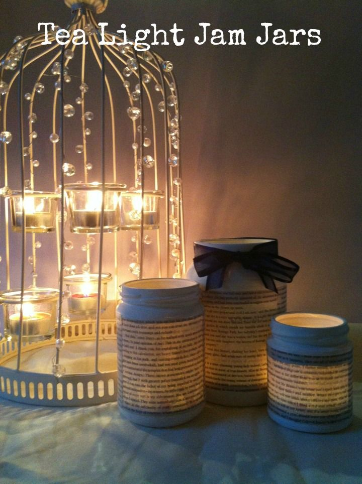 DIY Tutorial: Tea Light Jam Jars - don't paint the jars like here. book pages for Lisa and old music pages for Thomas