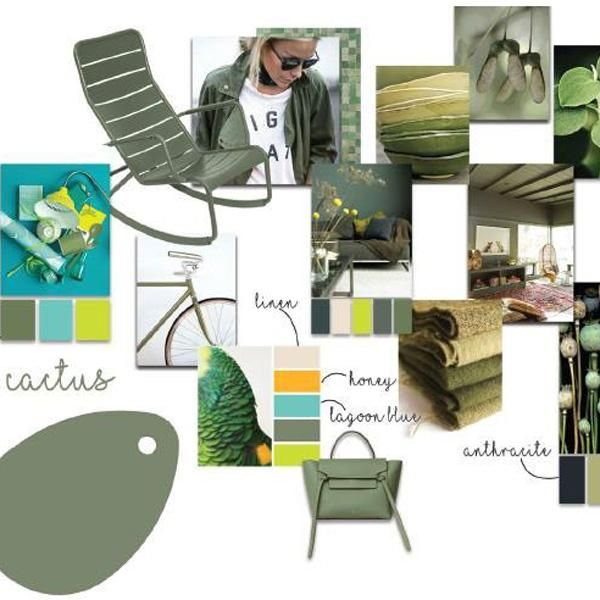 Fermob's 2017 color Cactus! This ultra-natural green tone is all about the great outdoors and relaxation. This slightly grey hue - somewhere between olive, oak and cactus in shade - is reminiscent of heathland. This elegant, subtle new Fermob colour is great for creating soft, warm settings.