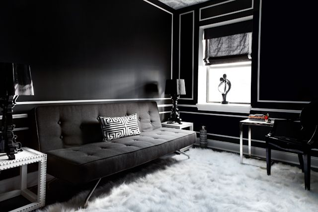 harlem apartment - danielle colding design: Decor, Black Walls, Danielle Colding, Interiors, Dark, Living Room Walls, Black Living Rooms, Design, White Room
