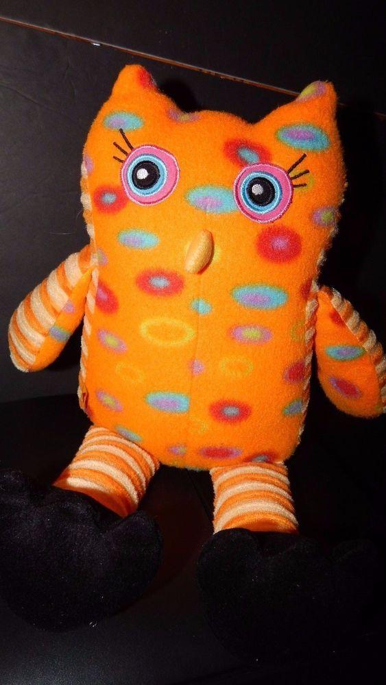 "Build a Bear Workshop Plush Owl Stuffed Animal Toy Orange Colorful Circles 16"" #BuildABearWorkshop"