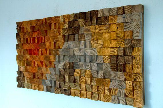 Grote rustieke kunst houten muur beeldhouwkunst abstract