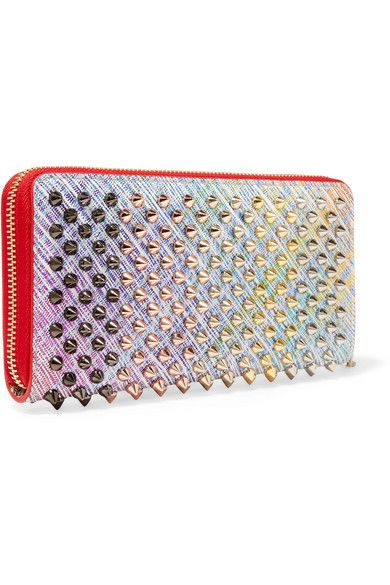 048651f224 Christian Louboutin | Panettone spiked metallic suede continental wallet |  NET-A-PORTER.COM