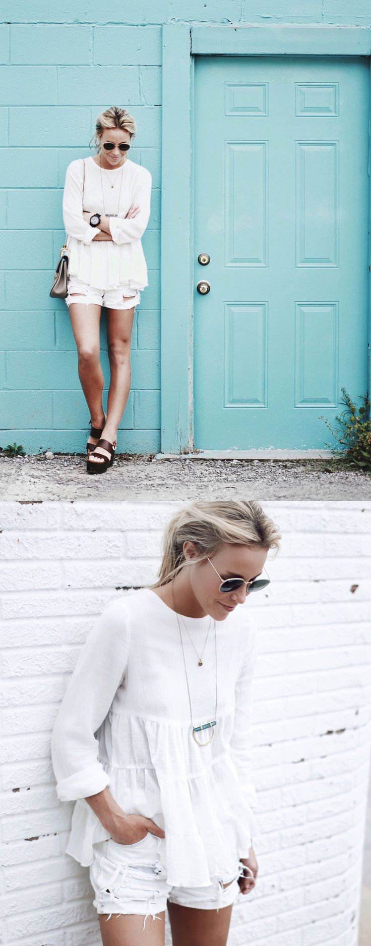 spring / summer - street chic style - street style - beach style - all white - summer outfit ideas - white ruffle blouse + white distressed denim shorts + brown flatform sandals + nude shoulder bag + golden sunglasses + black watch + statement necklace