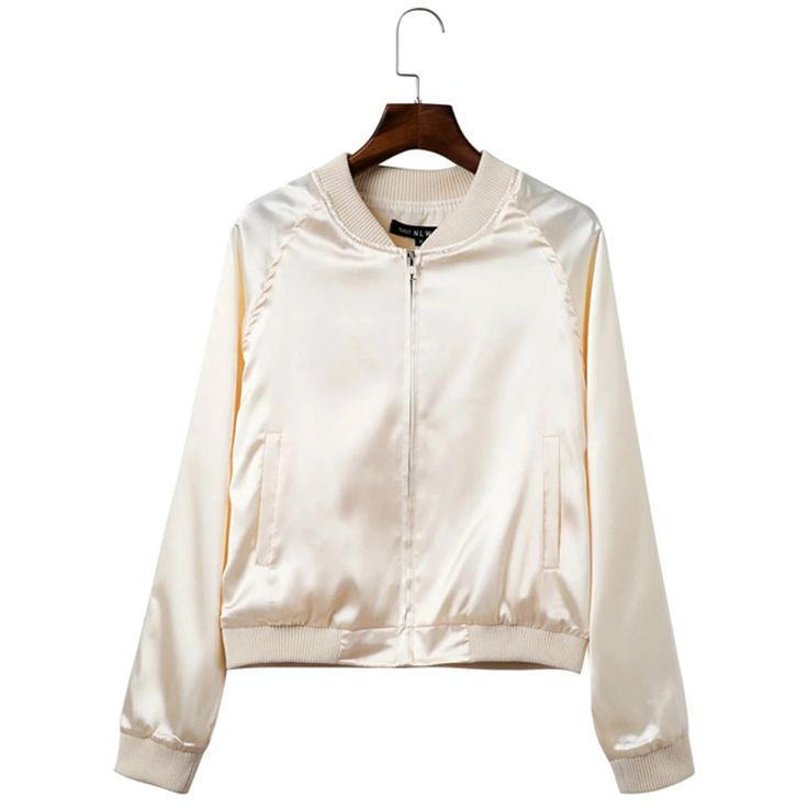 New Fashion Wild Sequined Pure Color Bomber Jacket Slim Long Sleeves  Zippers Silk Satin Outwear Spring f4cc19cd23843