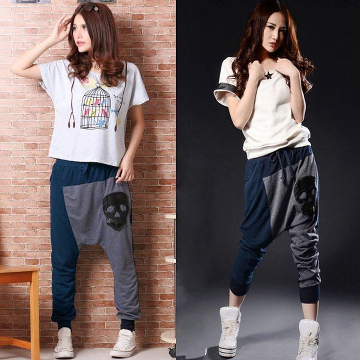 CY0759-Fashion-Women-Dropshipping-Faux-Leather-Skull-Print-Harem-Pants-font-b-Baggy-b-font-Splicing.jpg (800×800)