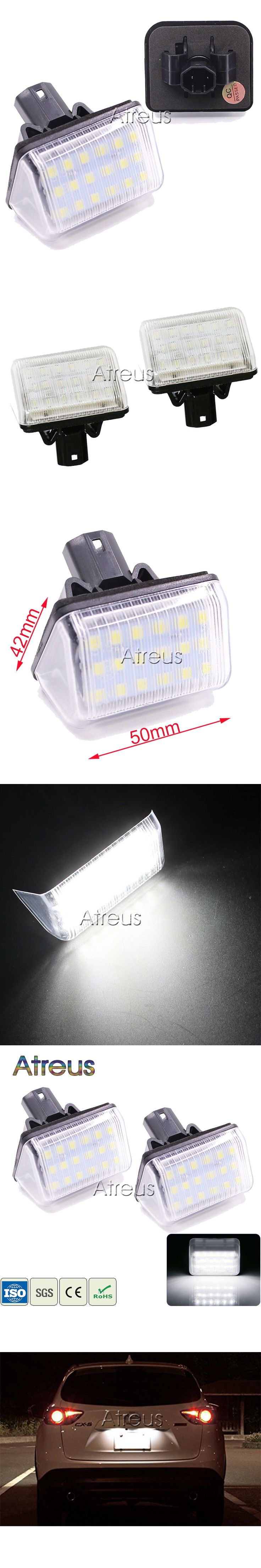 Atreus Car LED License Plate Lights 12V For Mazda 6 03- CX-5 14- CX-7 07- Accessories White SMD LED Number Plate Lamp Bulb Kit