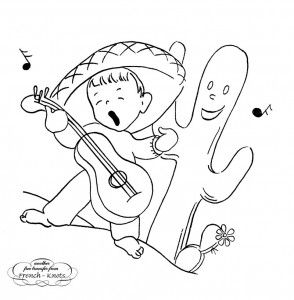 Mexican boy singing embroidery transfer pattern  There are four other cute designs.  Maybe stitch this for journal cover?