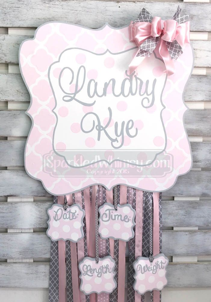 Birth Announcement - Hair Bow Holder - Door Hanger -Personalized Quatrefoil Baby Announcement Sign For Hospital Door by SparkledWhimsy on Etsy https://www.etsy.com/listing/286561829/birth-announcement-hair-bow-holder-door