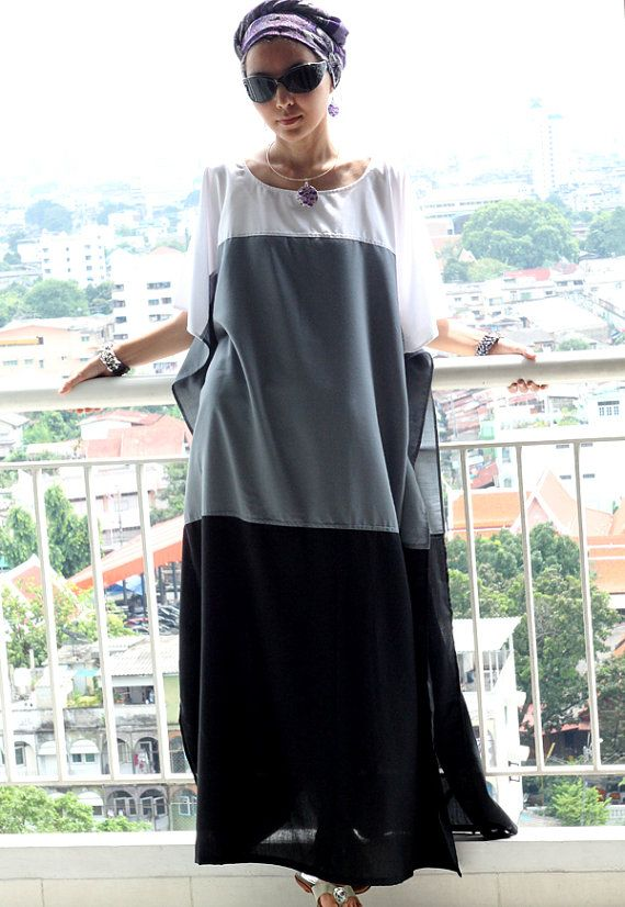 Maxi dress kaftan white / gray / black tunic caftan by SaudadeSun