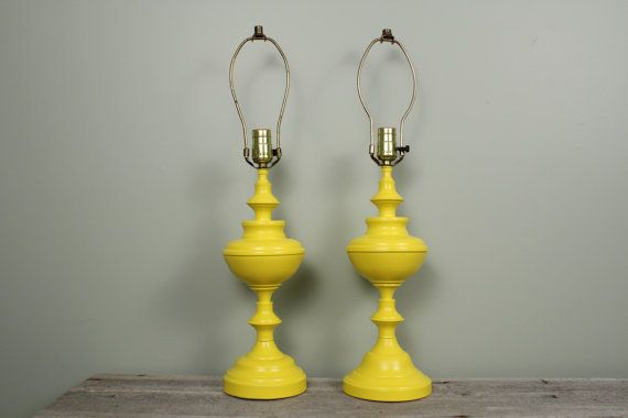 Painted Bright Yellow Modern Vintage Table Lamps by NewfoundFinds
