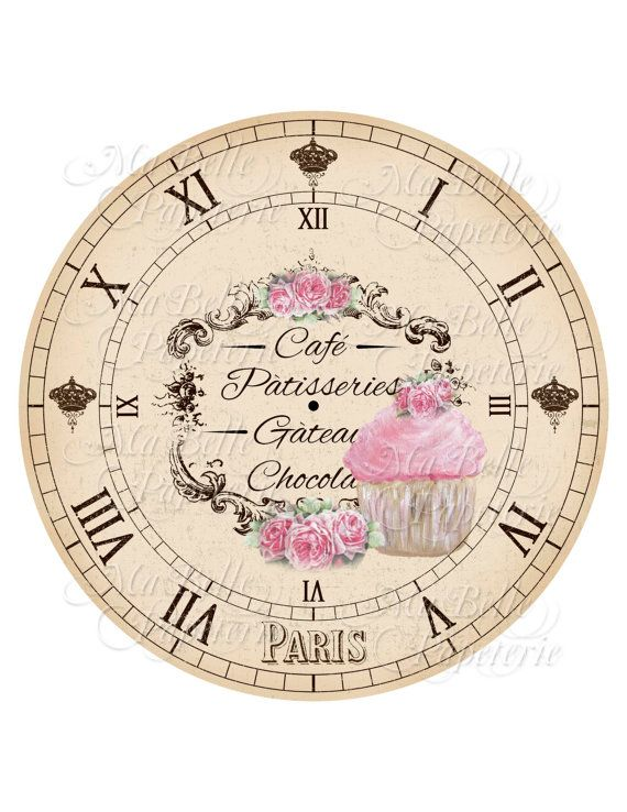 Clock-DIY Shabby Chic Clock Face French Cafe