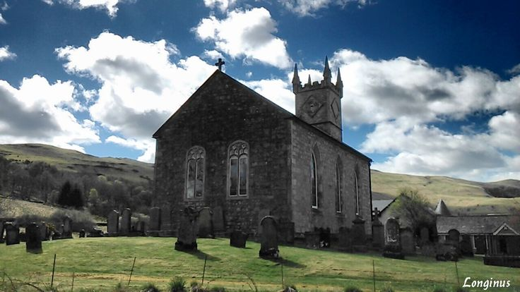 Church in the hills.  #Scotland #church #architecture #hills #sky #landscape