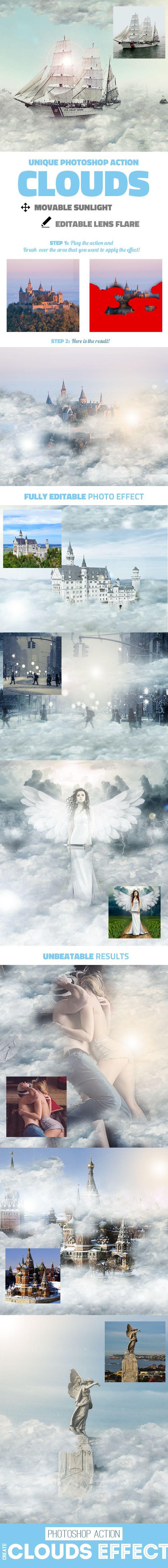 Clouds Photoshop Action #photoeffect Download: http://graphicriver.net/item/clouds-photoshop-action/14468638?ref=ksioks