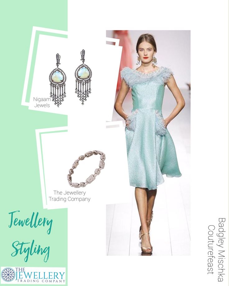 Badgley Mischka @couturefeast. A stunning mint green dress teamed up with Ethiopian opal chandelier & diamond earrings from Nigaam Jewels NYC and a vintage style diamond bracelet from The Jewellery Trading Company. Check out the jewels on www.1stdibs.com