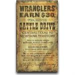 Wranglers Cattle Drive Vintage Western Decor Wood Sign 22x28