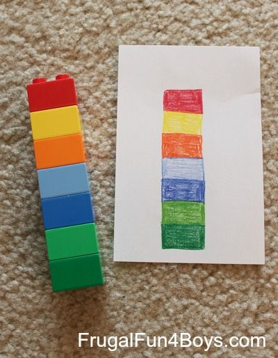 Two Preschool Math Activities with Duplo Legos - Frugal Fun For Boys *good too for matching colors.*