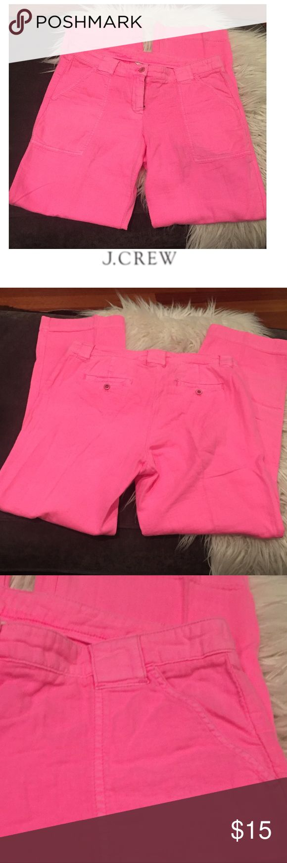 J. Crew City Fit Neon Pink Cargo Style Pants J. Crew City Fit Neon Pink Cargo Style Pants. 10 inch rise, high rise. 32 inch inseam. Gently worn. Great condition. Front pocket is a Cargo style pocket. Feel free to make an offer or bundle & save! J. Crew Pants