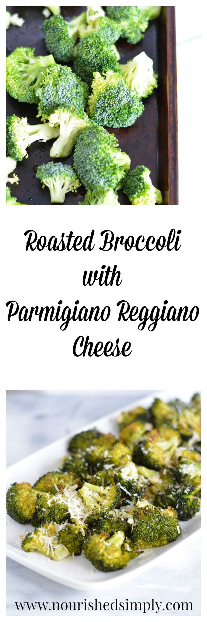 Roasted Broccoli with Parmigiano Reggiano Cheese lets you enjoy broccoli with cheese without the extra calories of traditional broccoli with cheese sauce.