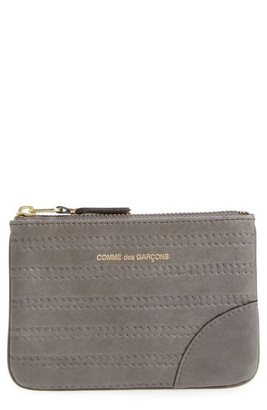 Comme des Garçons Embossed Leather Top Zip Pouch Wallet available at #Nordstrom