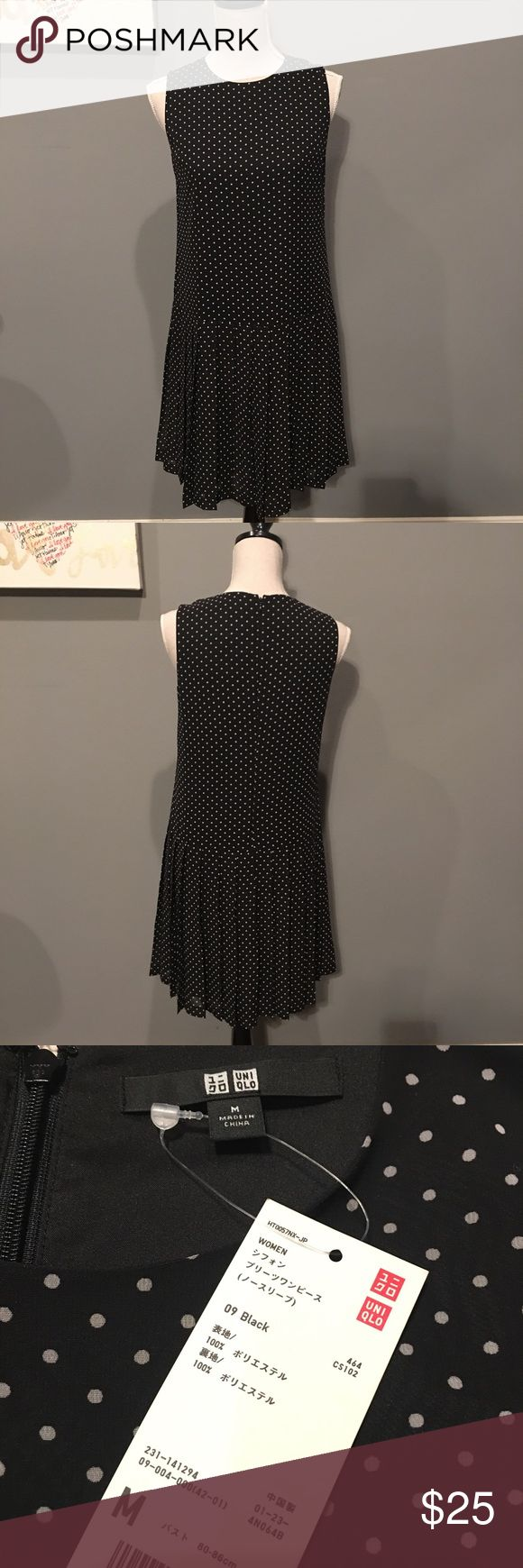 "Uniqlo Polka Dots Drop Waist Dress Drop waist, pleated skirt, zipper back, Sleeveless. Shoulder to hem 37"", armpit to armpit 16.5"", fits like a small (size 4). Uniqlo Dresses Midi"