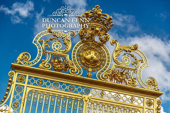 Stunning image of the golden gate to the Royal estate of Versailles, Paris France | Fine Art Photography | Wall Print