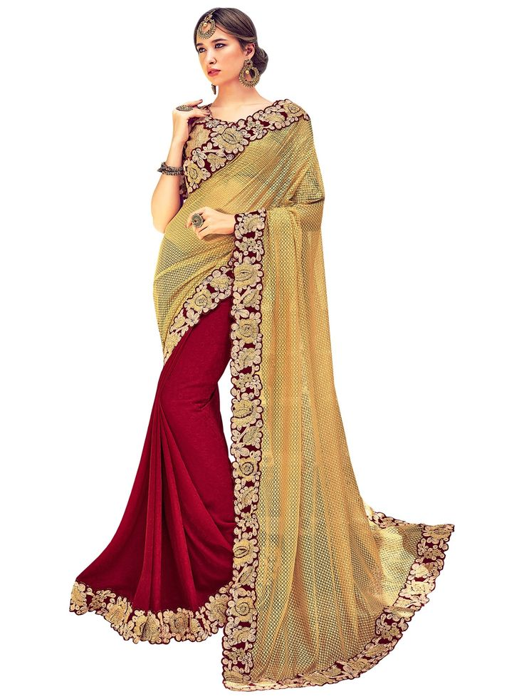 Indian Women Beige And Maroon Jacquard Georgette Saree