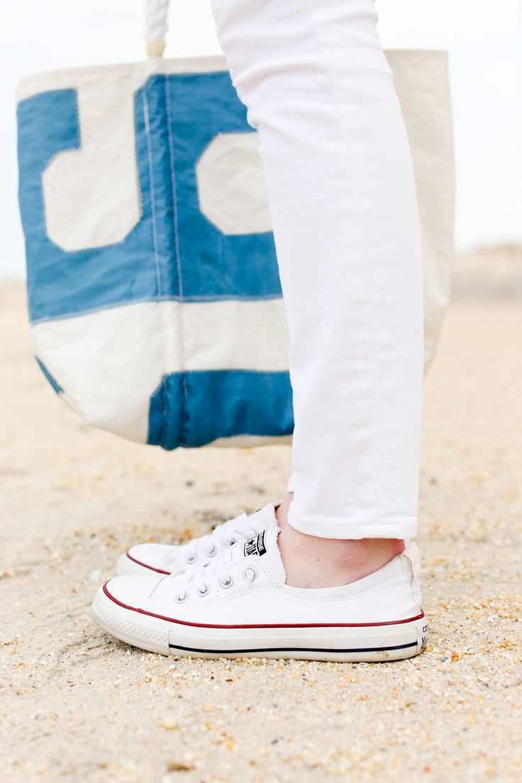 J.Crew Pom-Pom T-Shirt and White Jeans / Converse Sneakers / SeaBags Tote / Tory Burch Earrings / Vintage Scarf