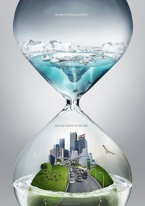 This picture tells about the phenomenon of the global warming. Inside the hourglass is our living city and the ice water. It means that every second we may put ourselves in the danger of submerge by the dissolved iceberg from the Southern Pole.