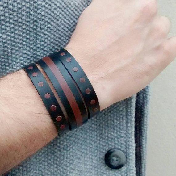 Bracciale uomo //ADE// tre bracciali in vera pelle by MaisonIvoire #italiasmartteam #etsy
